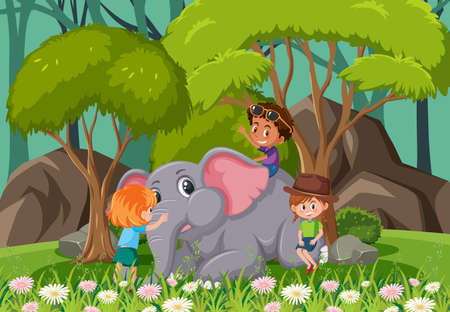 Forest scene with children playing with an elephant illustration