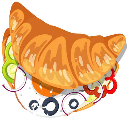 Top view of croissant with egg and vegetable inside illustration