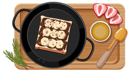 Breakfast set in the pan with cutting board illustration Ilustrace