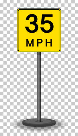 35 MPH road sign isolated on transparent background illustration