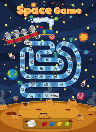 Board Game for kids in outer space style template illustration