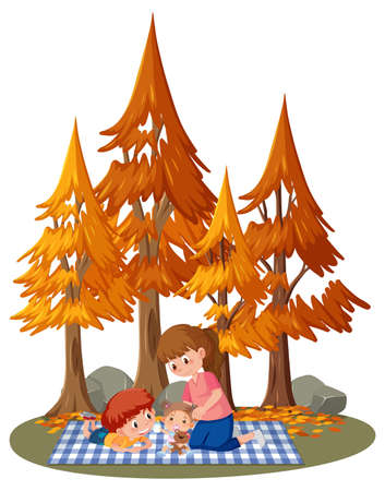 Mother with her children in the park isolated illustration Ilustrace