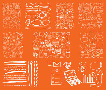 Set of object and symbol hand drawn doodle on orange background illustration