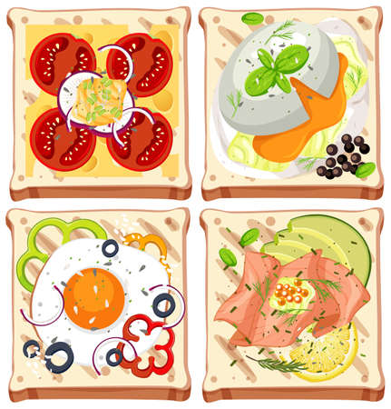 Set of bread with topping isolated illustration