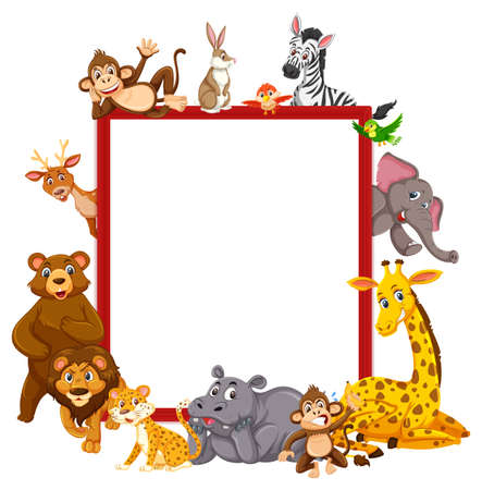 Empty banner with many different wild animals illustration