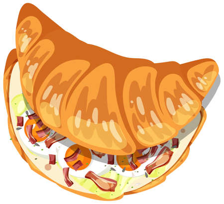Top view of croissant with egg and bacon inside illustration