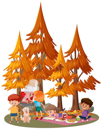 Children picnic at the park illustration Ilustrace