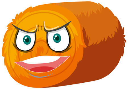 Round hay bale cartoon character with facial expression illustration