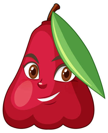 Rose apple cartoon character with facial expression illustration