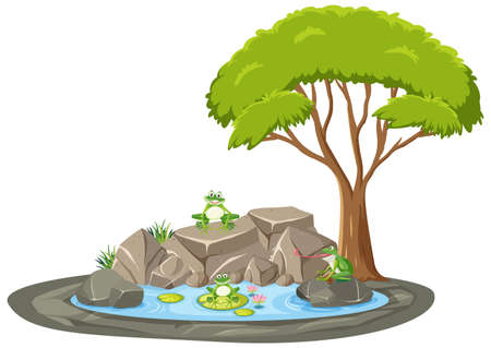 Isolated scene with many frog around the pond illustration