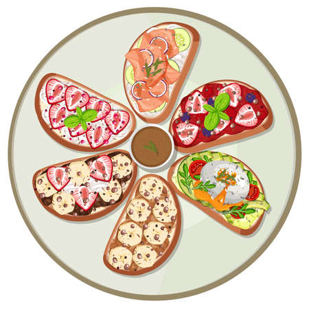 Top view of breakfast dish isolated illustration