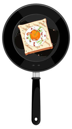 Breakfast in the pan isolated illustration Ilustrace
