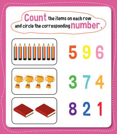 Math count number worksheet illustration