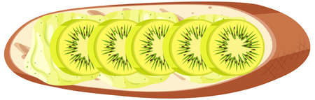 Top view of a bread with kiwi isolated illustration Ilustrace