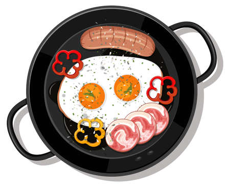 Breakfast set in the pan isolated illustration