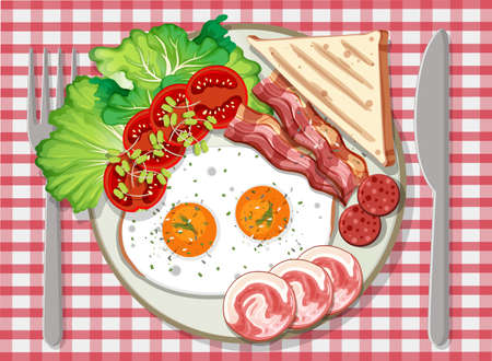 Top view of breakfast in a plate illustration