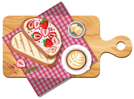 Top view of breakfast set on a cutting board isolated illustration