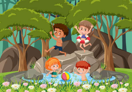 Happy kids at the waterfall illustration