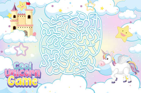 Maze puzzle game activity for children in unicorn theme illustration Ilustrace