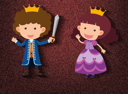 Little knight and princess cartoon character on red background illustration