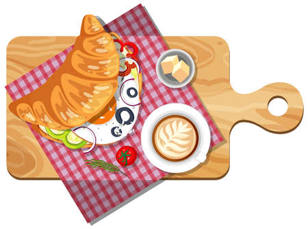 Top view of croissant sandwiches on a cutting board illustration