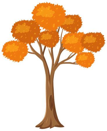 Isolated autumn tree on white background illustration