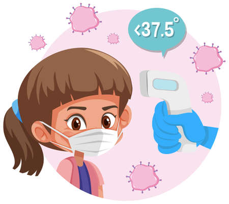 Body temperature checking with a girl wearing mask illustration