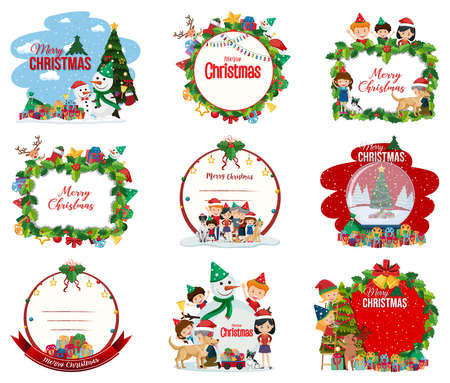Set of blank Christmas postcard and logo isolated illustration