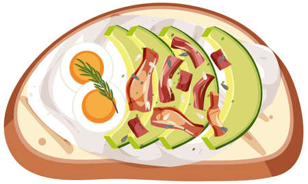 Top view of a bread with egg and avocado topping illustration