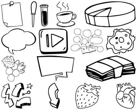 Set of item and symbol hand drawn doodle illustration