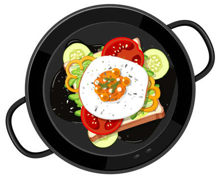 Top view of breakfast set in the pan isolated illustration