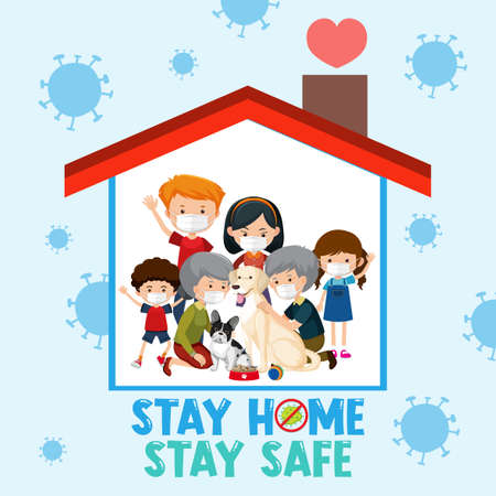 Stay home stay safe font with happy family illustration