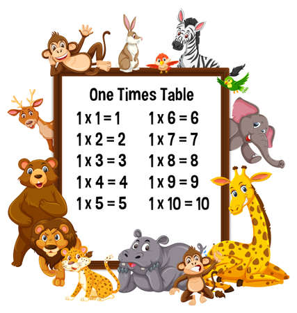 One Times Table with wild animals illustration