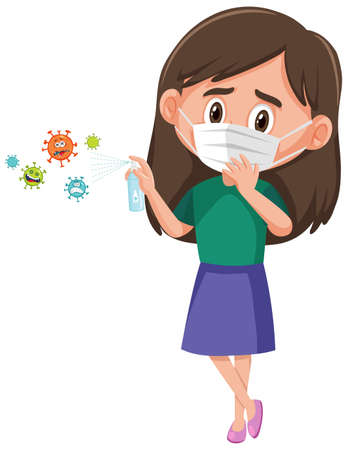 A girl wear mask and using alcohol sanitizer with virus cartoon character illustration