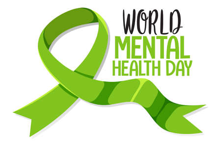 World Mental Health Day banner or logo isolated on white background illustration Ilustrace