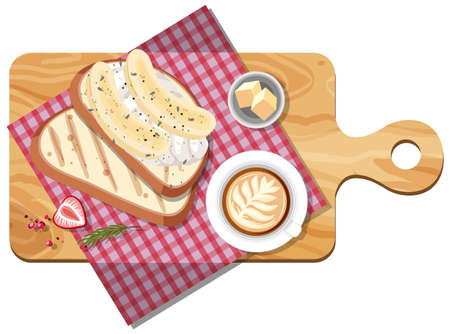 Top view of bread and coffee cup on a cutting board illustration