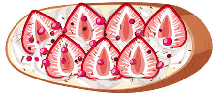 Top view of bread with fruit topping illustration Ilustrace