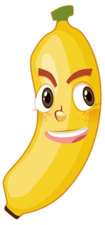 Banana cartoon character with facial expression illustration