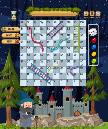 Snake Ladder game in wizard fairytale theme illustration