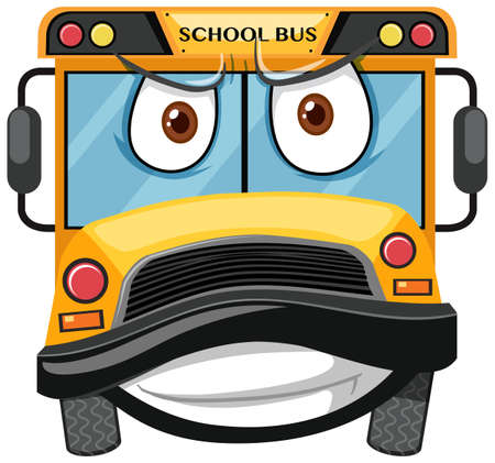 School bus cartoon character with angry face expression on white background illustration Vecteurs