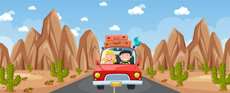 Outdoor scene with a couple travelling in desert scene illustration Ilustrace