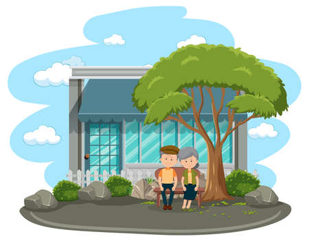Old couple sitting in the park isolated illustration