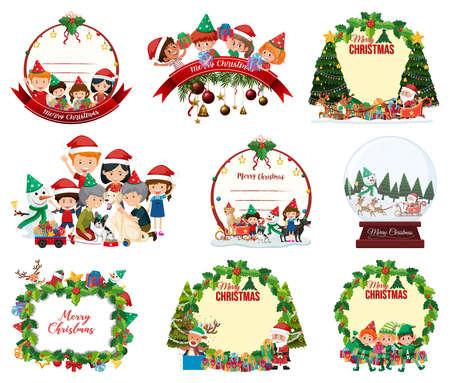 Set of blank Christmas postcard and logo isolated illustration