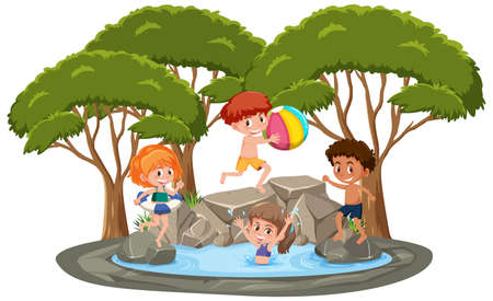 Isolated scene with children playing at the pond illustration