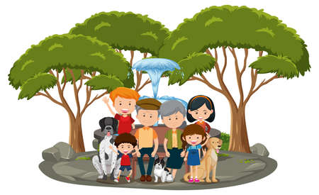 Happy family in the park isolated on white background illustration