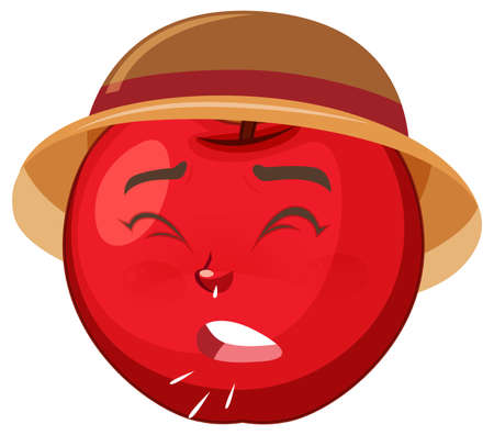 Apple cartoon character with facial expression illustration