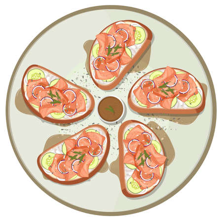 Many breads with smoked salmon ontop illustration Ilustrace