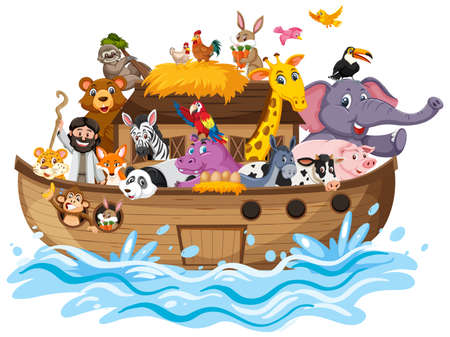 Noah's Ark with Animals on water wave