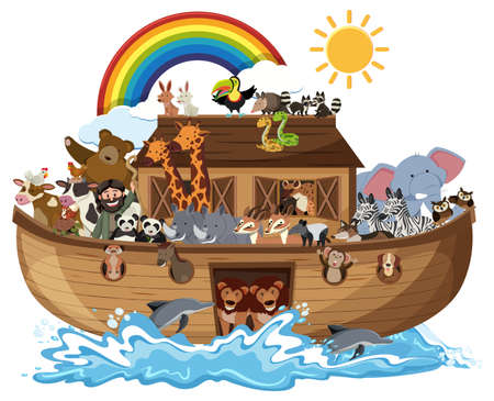Noah's Ark with Animals on water wave isolated on white background illustration