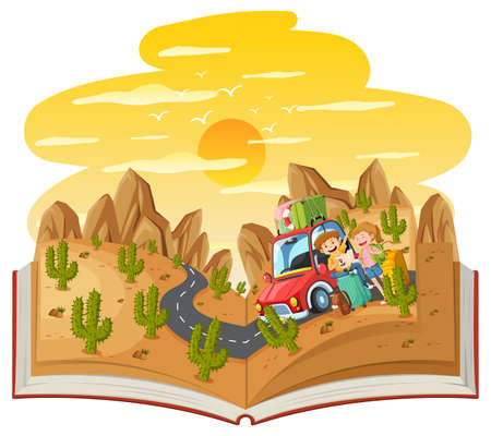 Open book with a couple travel in the desert forest scene illustration